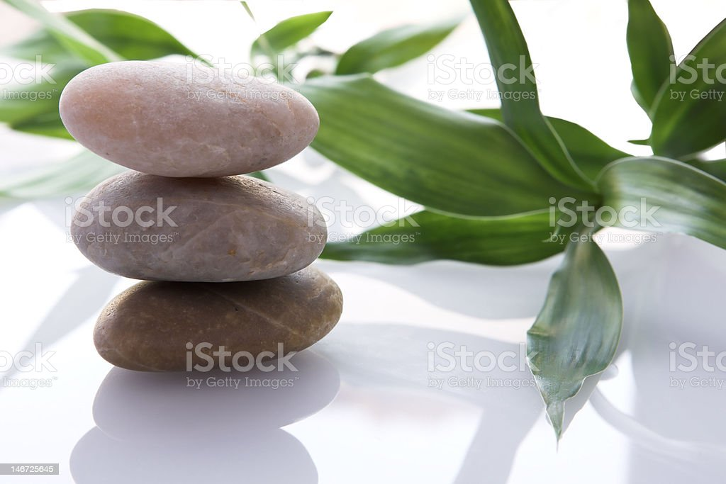 Stones with bamboo royalty-free stock photo