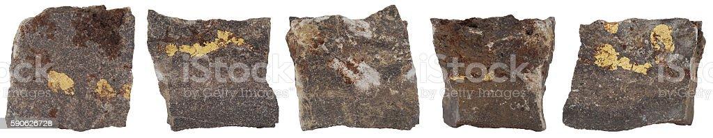 Steine mit Goldader stock photo