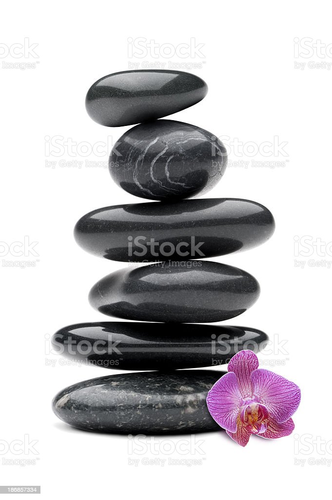 Stones with Orchid stock photo