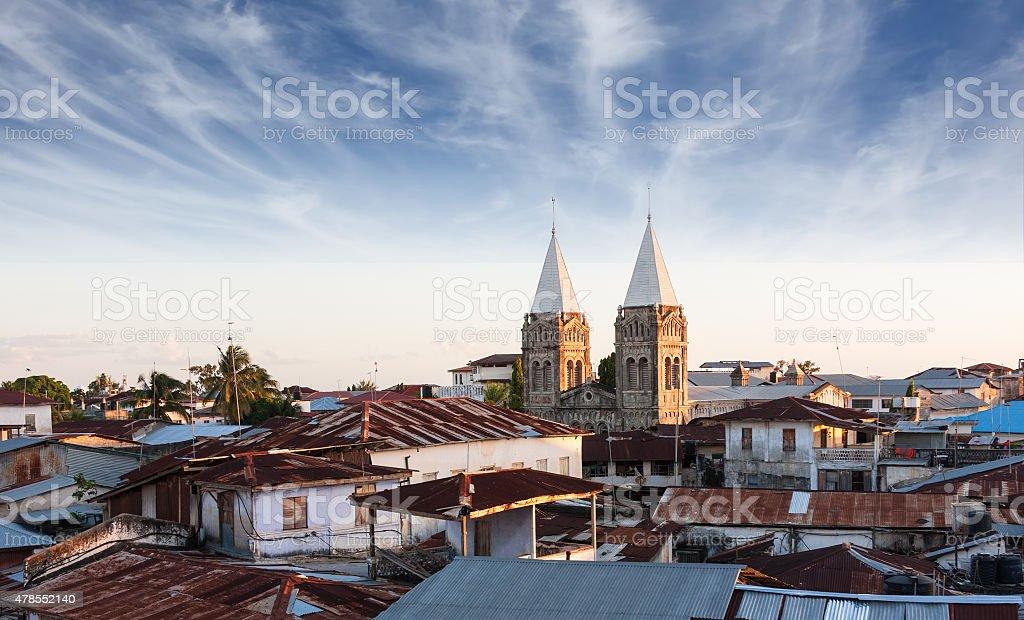 stonetown zanzibar roof-top view over city stock photo