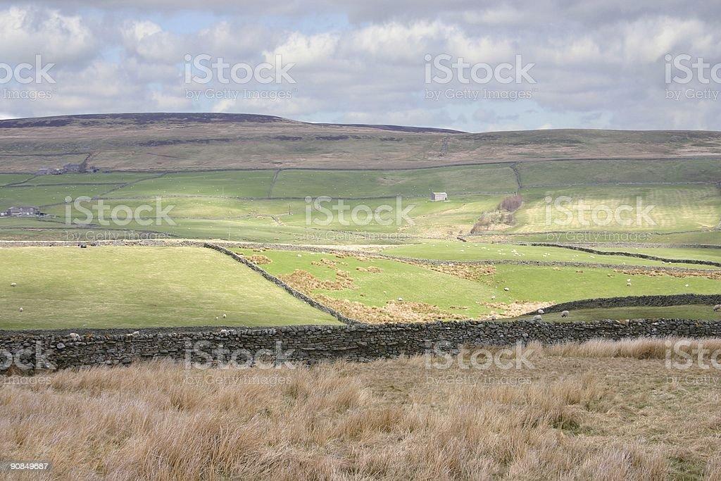 stonewall boundaries embed the Yorkshire landscape stock photo