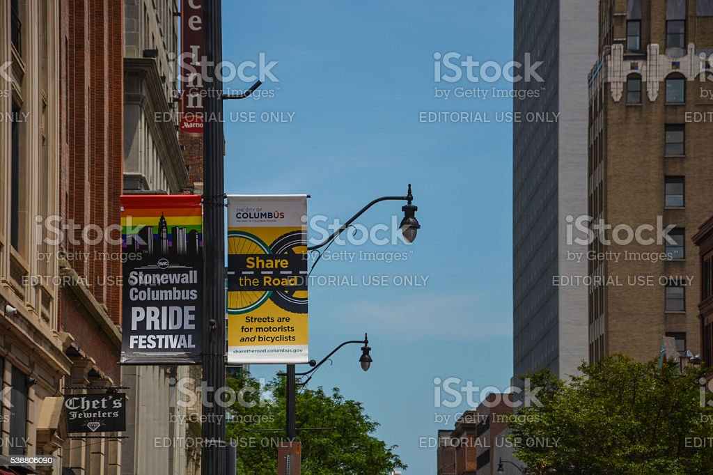 Stonewall Columbus Pride Festival and Share the Road Banners stock photo