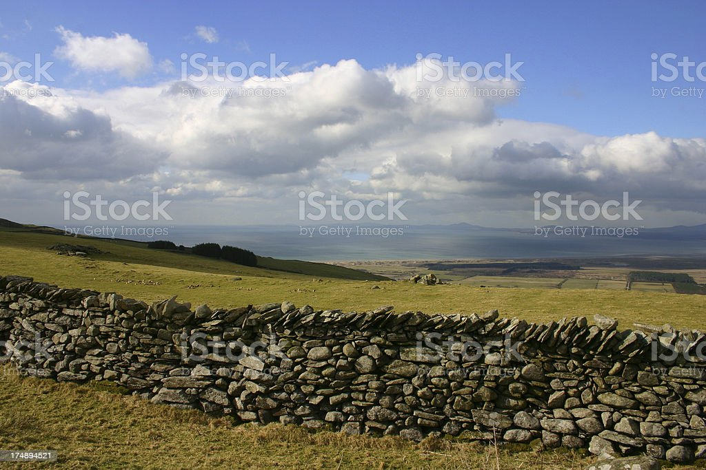 Stonewall on the Welsh mountain pastures stock photo