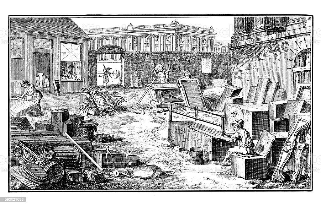 Stonework (18th century engraving) stock photo