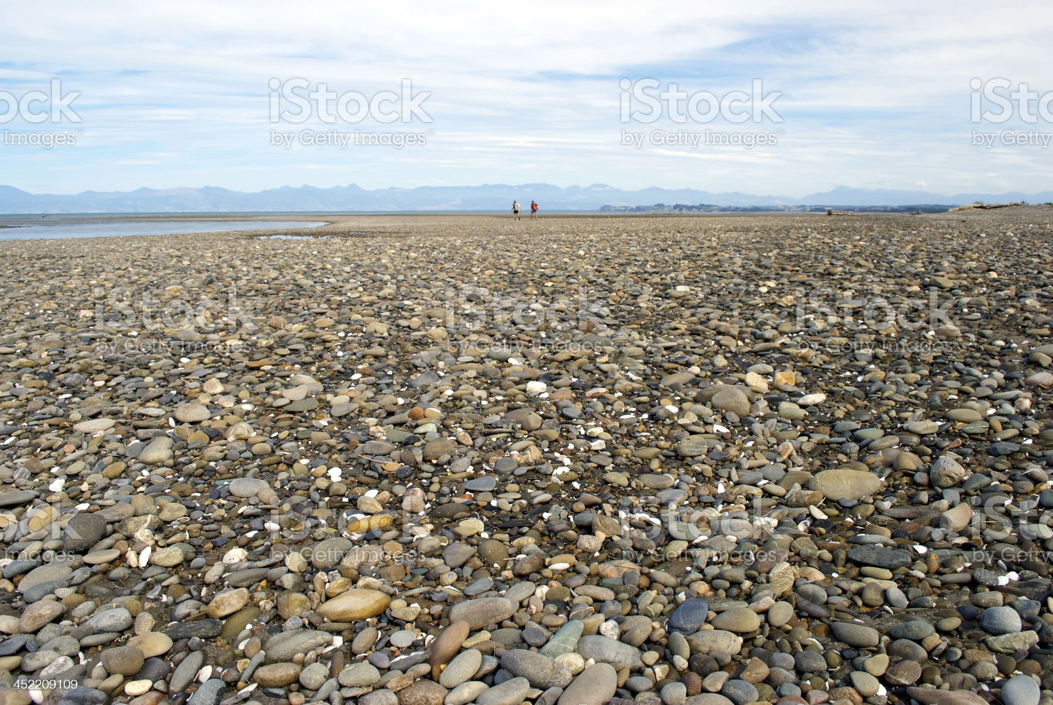 Stoney Beach with very distant Walkers royalty-free stock photo