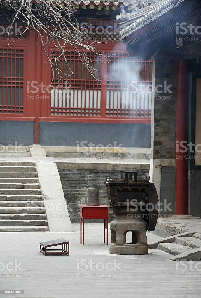 Stool for kneeling and incense burner at Lama Temple, Beijing royalty-free stock photo