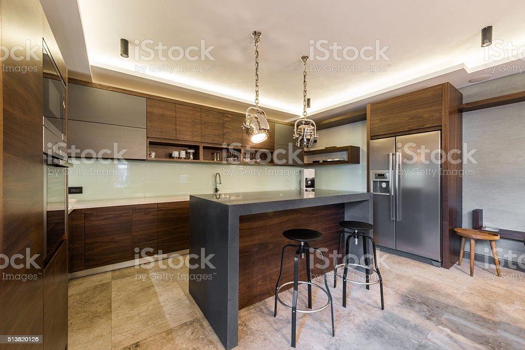 Stools at kitchen bar kitchen island and stools stock photo