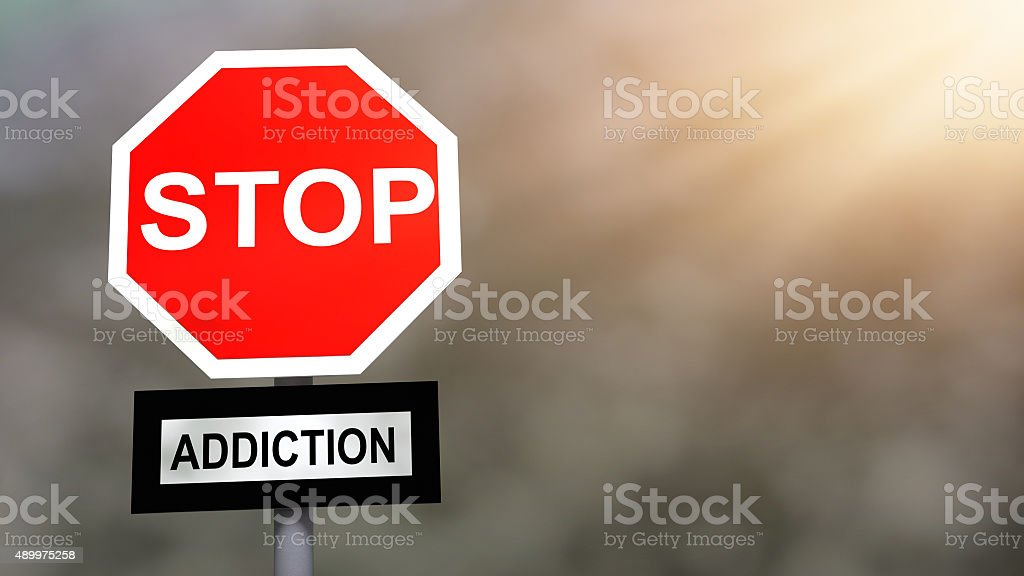 Stop addiction problem sign. Prevention and cure addiction problem concept. stock photo
