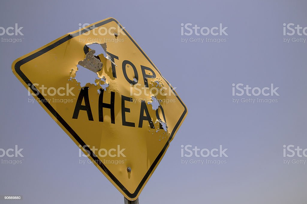 Stop ahead horizontal left royalty-free stock photo