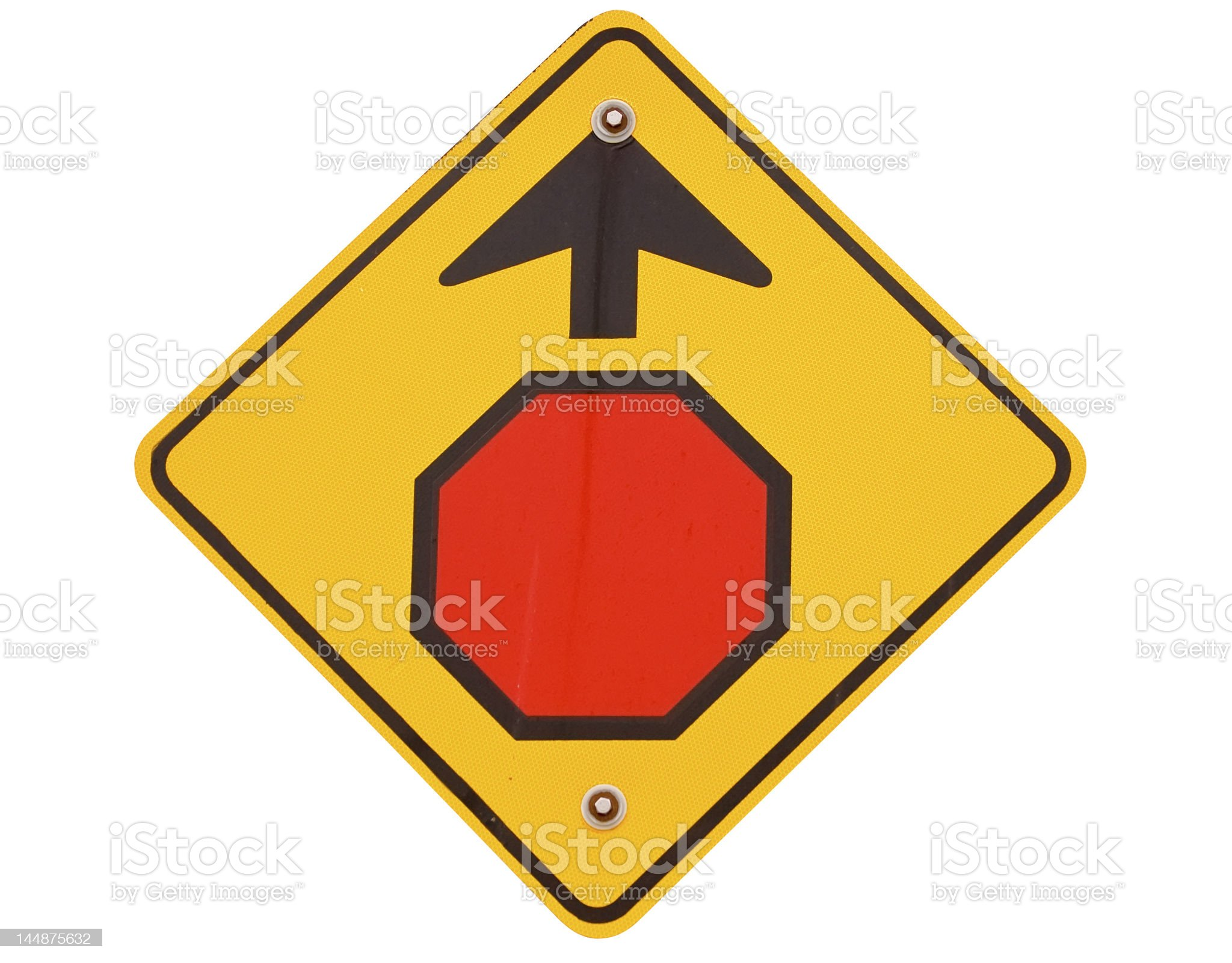 Stop Ahead - Real Road Sign with Clipping Path royalty-free stock photo
