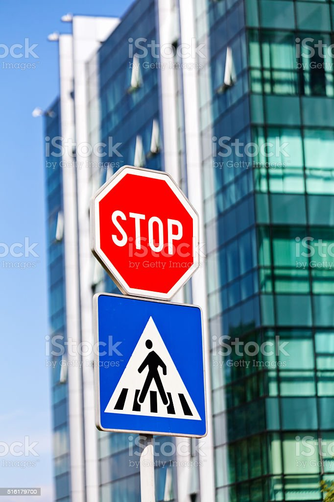 Stop and pedestrian signs stock photo