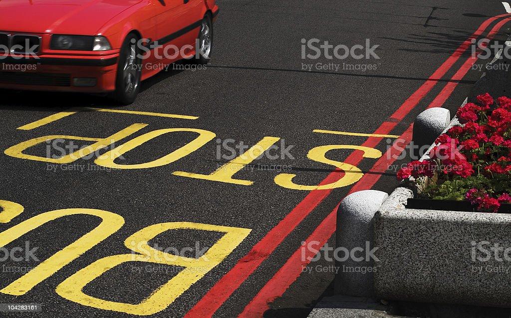Stop - beginning of Bus Lane royalty-free stock photo