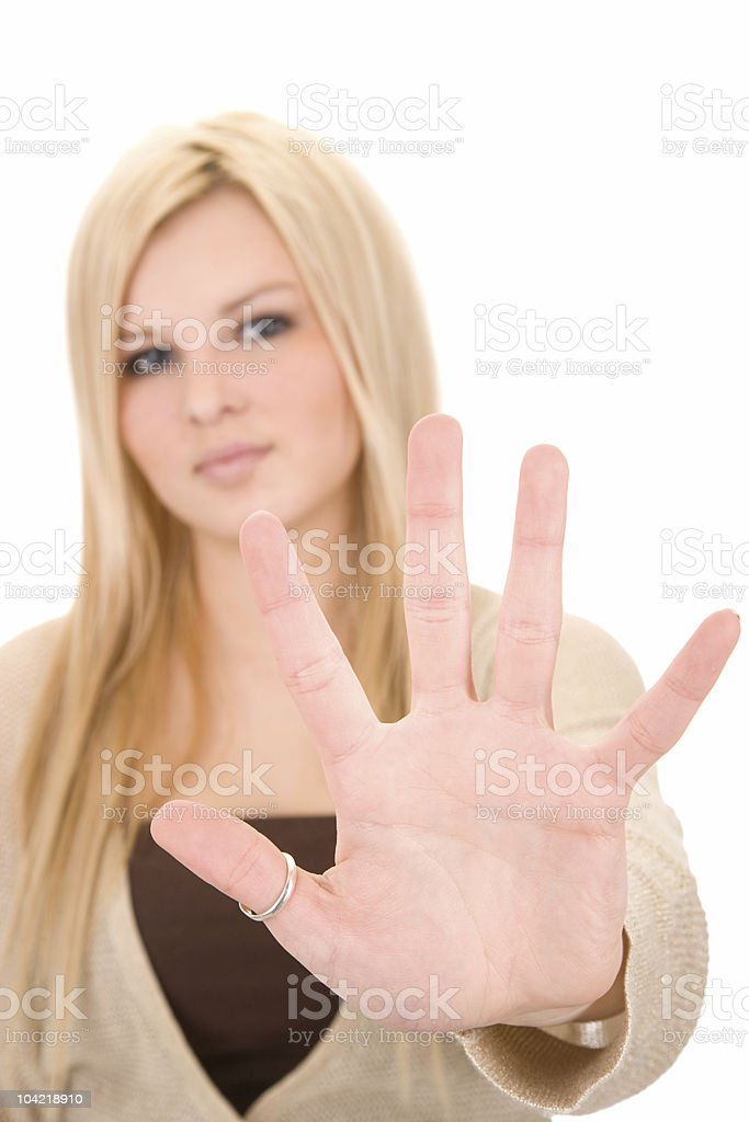 Stop / Blonde Woman stock photo