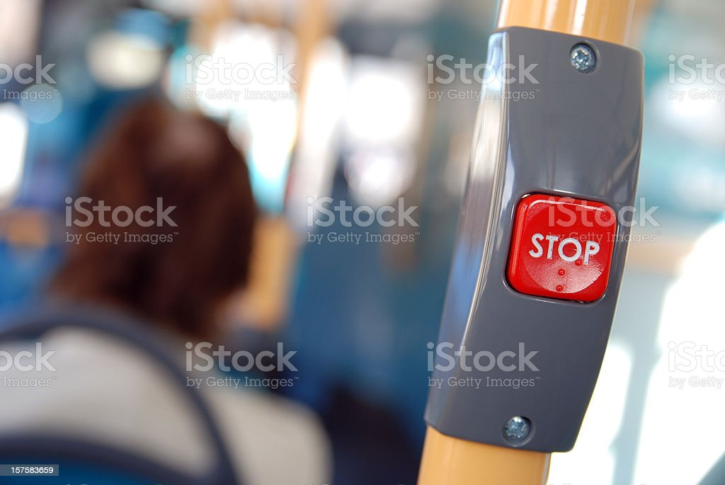 Stop button on city bus royalty-free stock photo