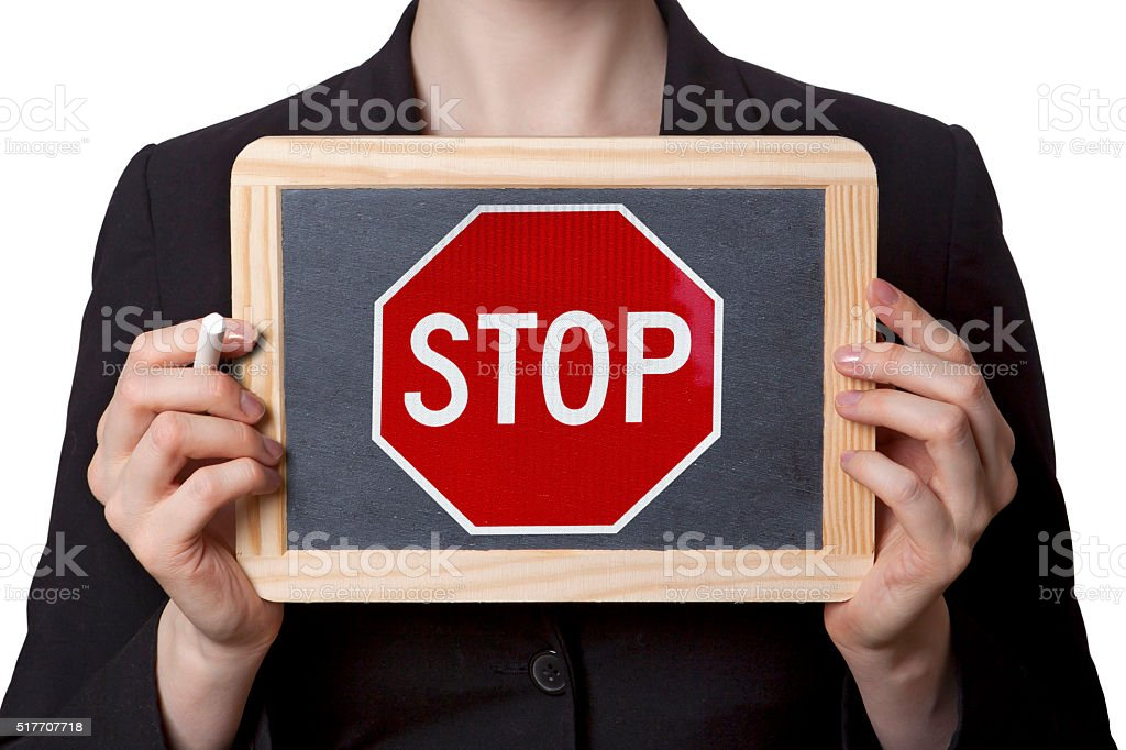 Stop Chalk board stock photo