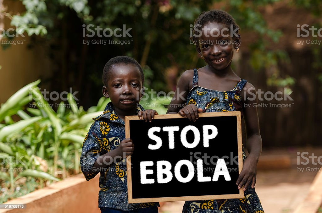 Stop Ebola Now ! Help Symbol: African Children Asking Assistance stock photo