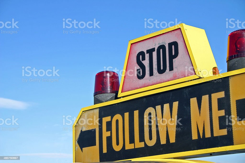 Stop - Follow me (on a car) royalty-free stock photo