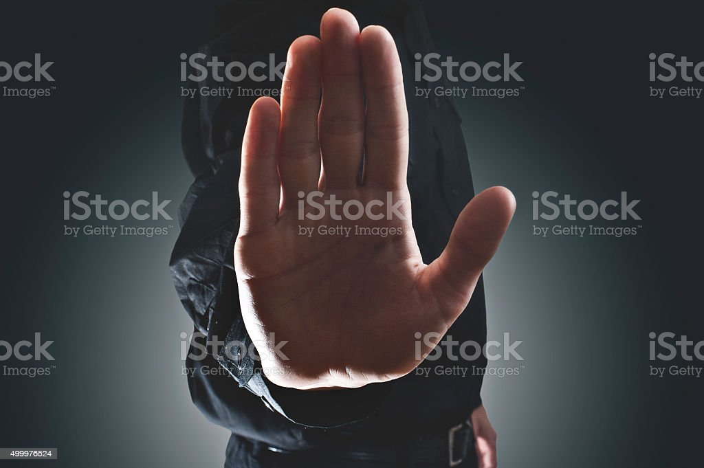 Stop hand sign (Click for more) stock photo