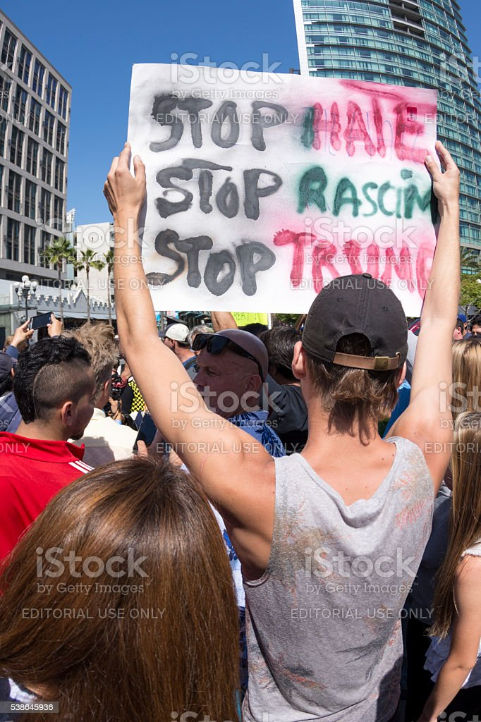 Stop hate, racism and Trump stock photo