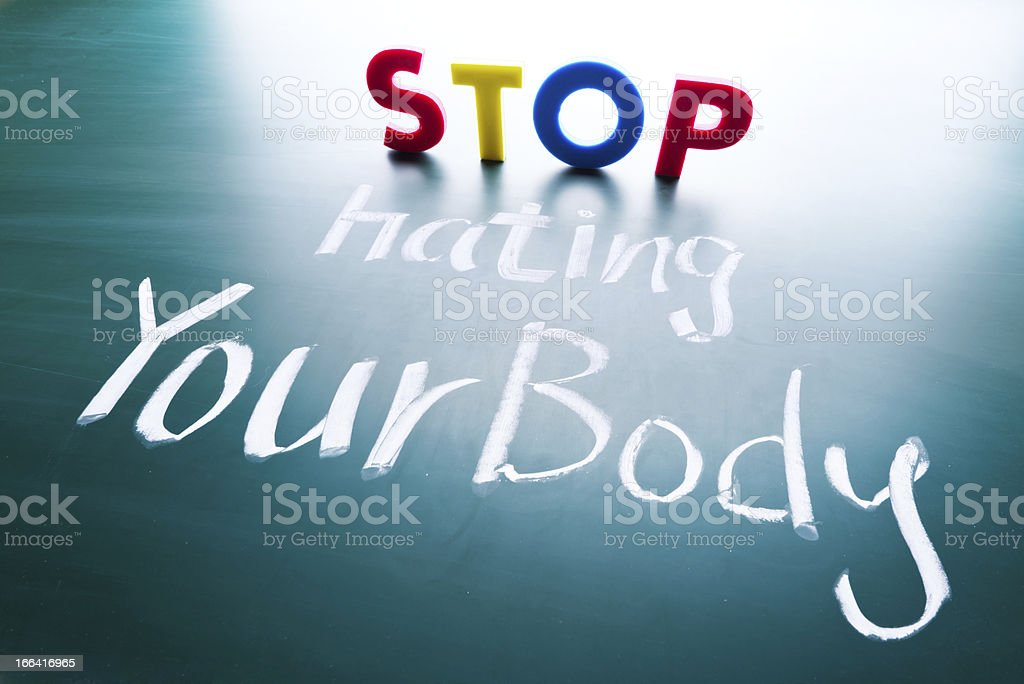 Stop hating your body concept royalty-free stock photo