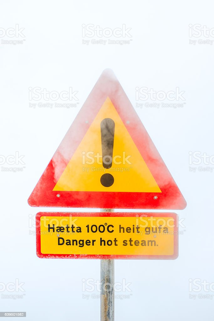 Stop! hot spring in iceland stock photo