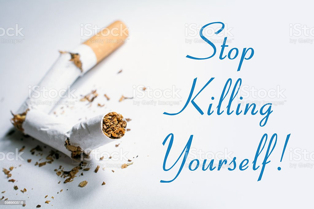 Stop Killing Yourself Smoking Reminder With Broken Cigarette In Whitebox stock photo