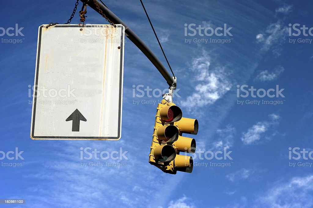 stop light and sign royalty-free stock photo