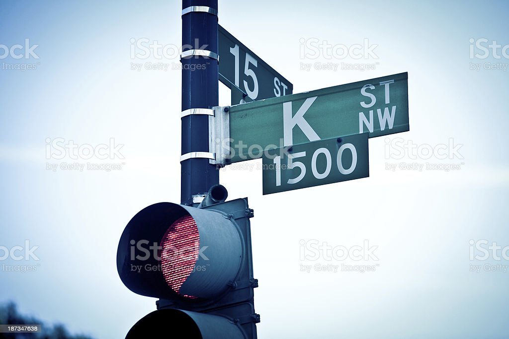 Stop Light on K Street stock photo