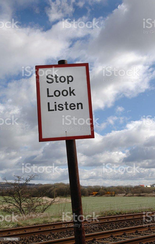 Stop Look Listen royalty-free stock photo