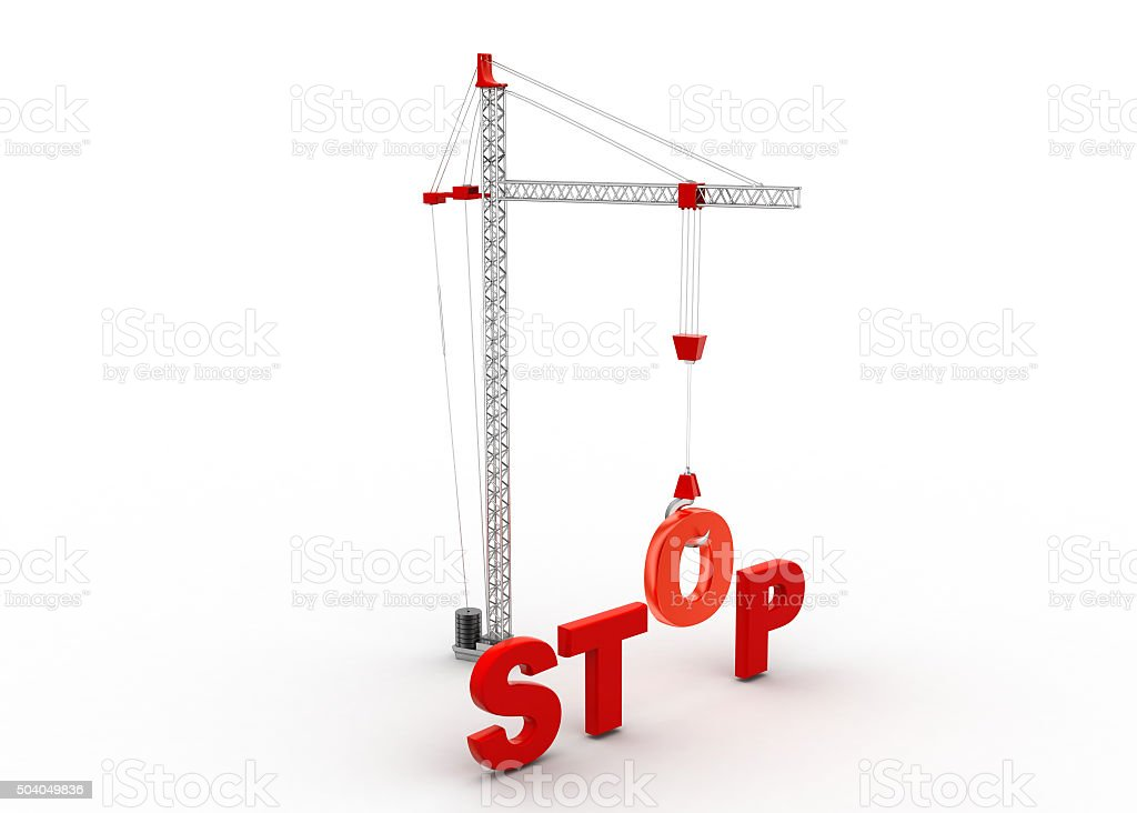 Stop, o hanging the hook stock photo