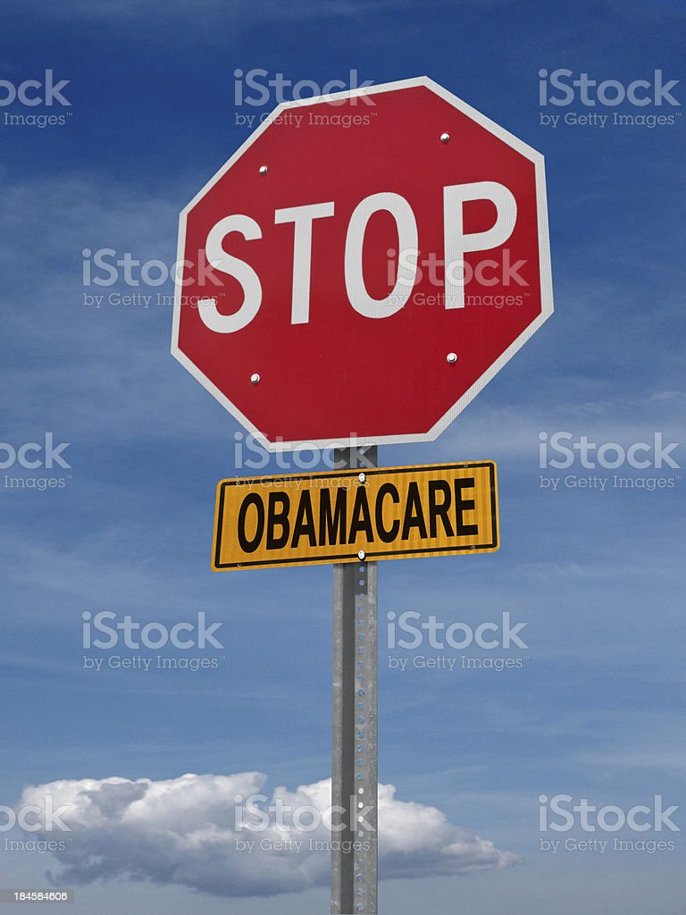 stop obamacare ahead conceptual post stock photo