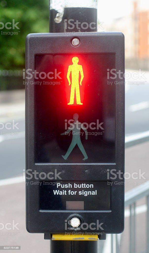 Stop pedestrian red light stock photo
