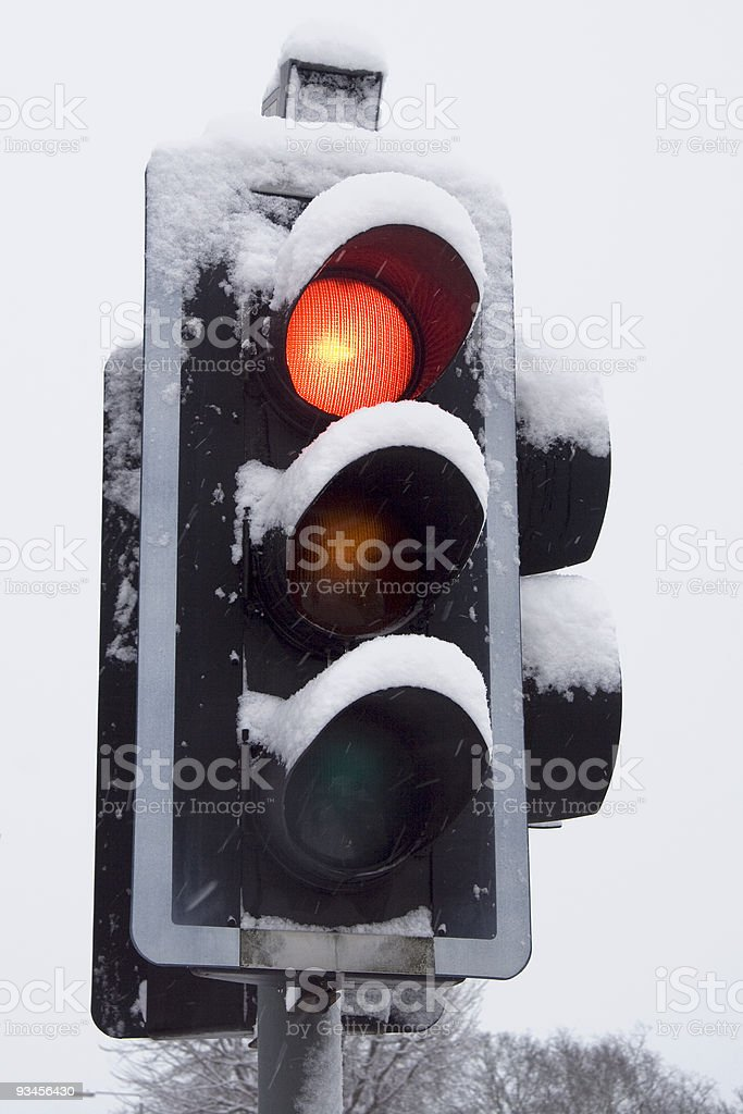 Stop (in snow) stock photo