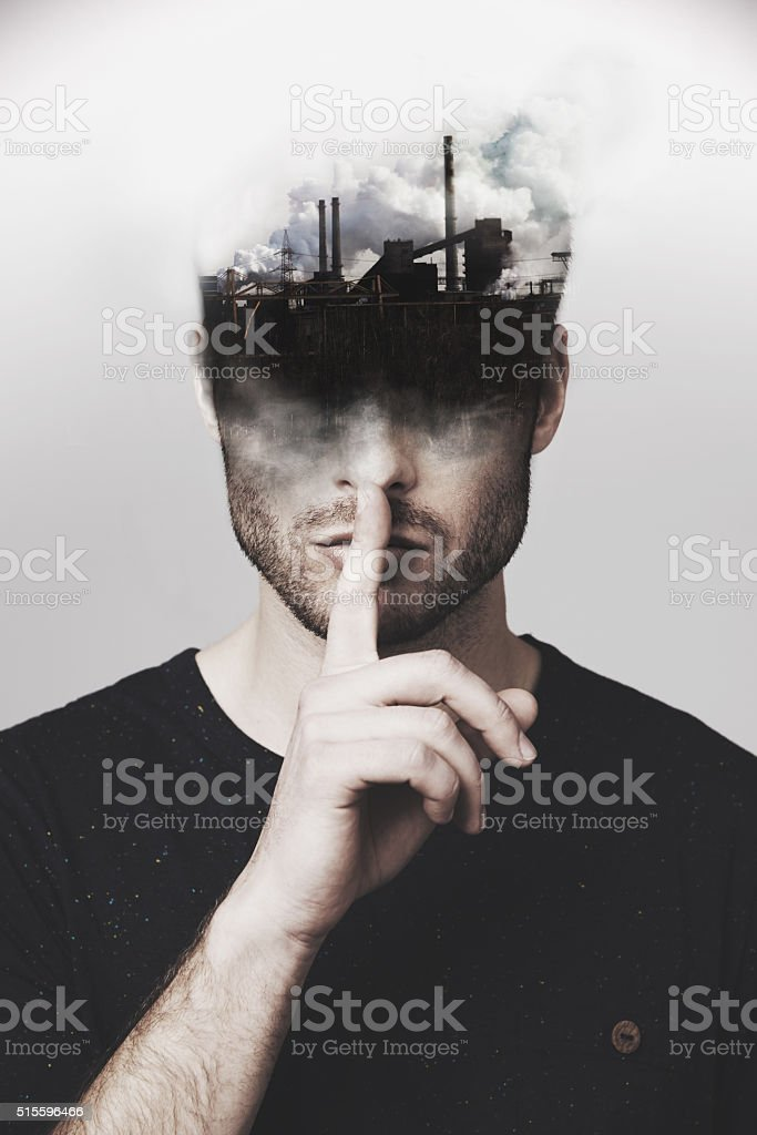 Stop polluting my mind stock photo
