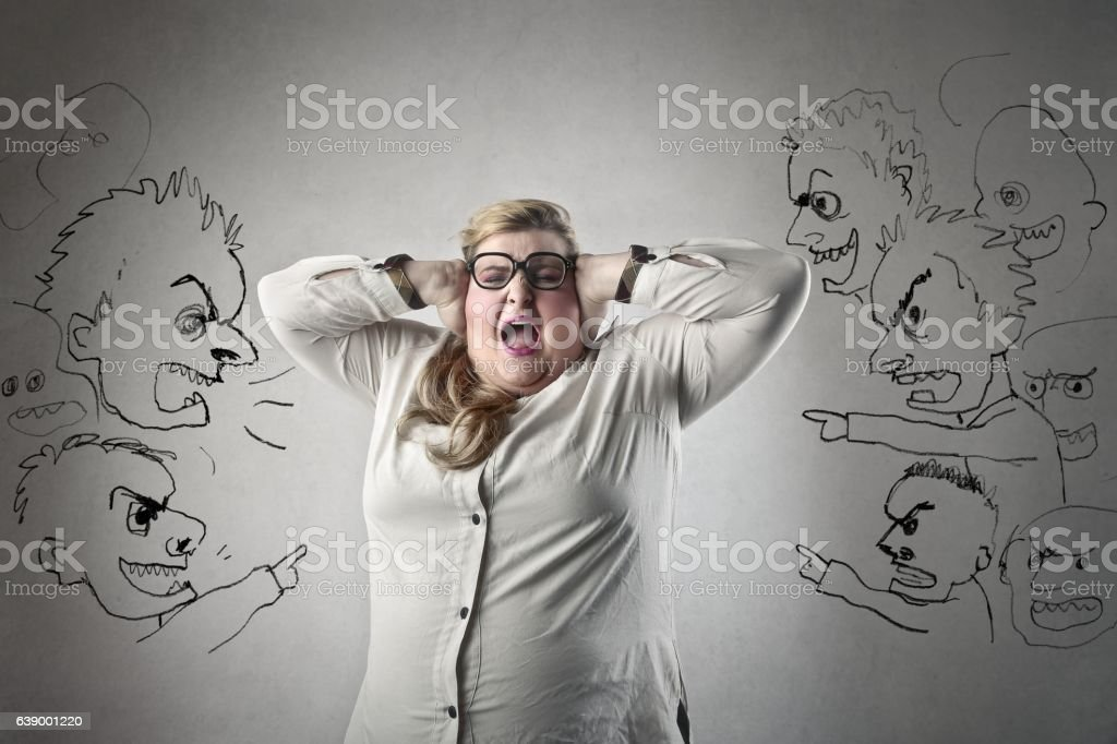 Stop shouting at me! stock photo