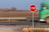 Stop Sign at Crossroads. Roads in the Slovak countryside.