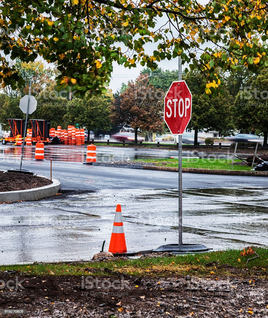 Stop Sign at Retail Shopping Mall Parking Lot Construction Zone stock photo