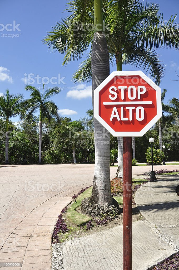 Stop Sign in Spanish and English stock photo
