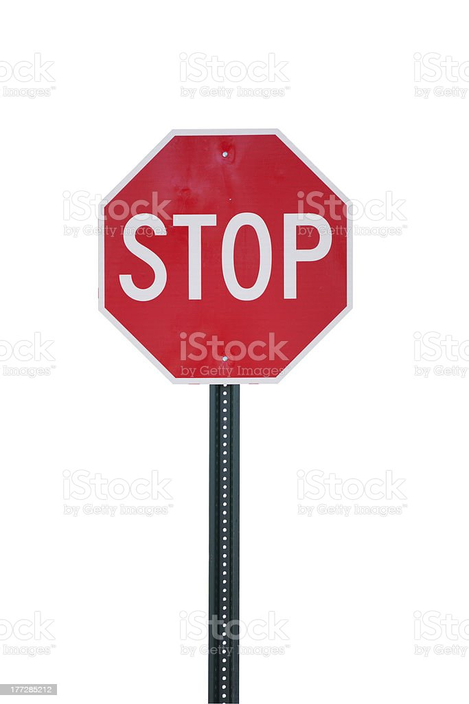 Stop Sign Isolated on White stock photo