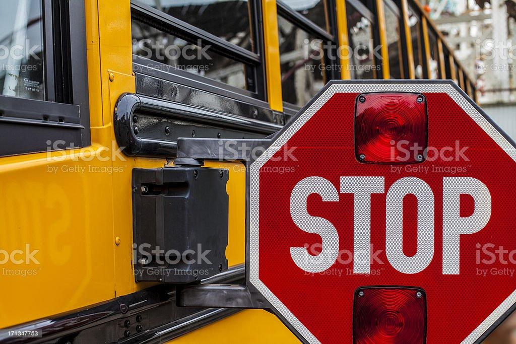 Stop sign of a school bus stock photo