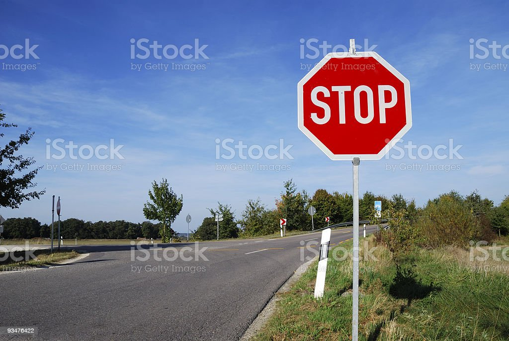 Stop sign on Bavarian road stock photo