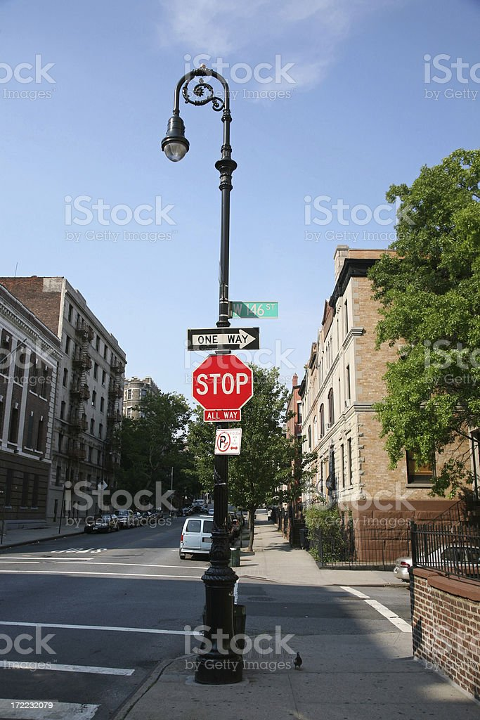Stop Sign On Lamp Post stock photo