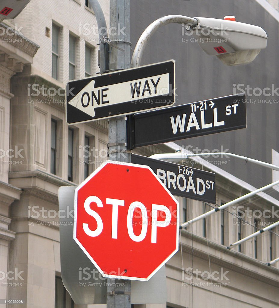 Stop Sign on Wall Street stock photo