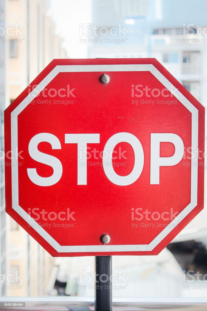 Stop sign outdoors stock photo