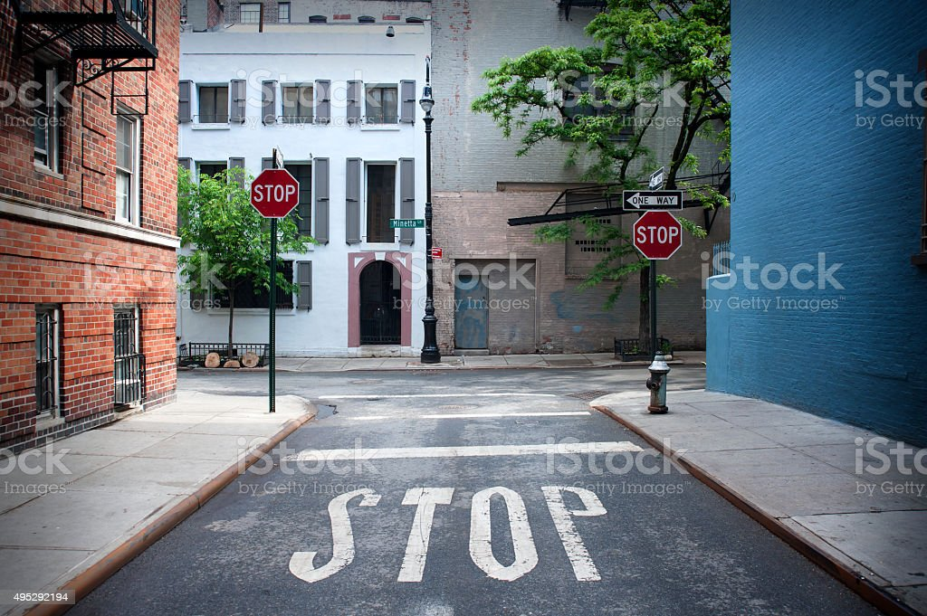 Stop Sign painted on the road stock photo