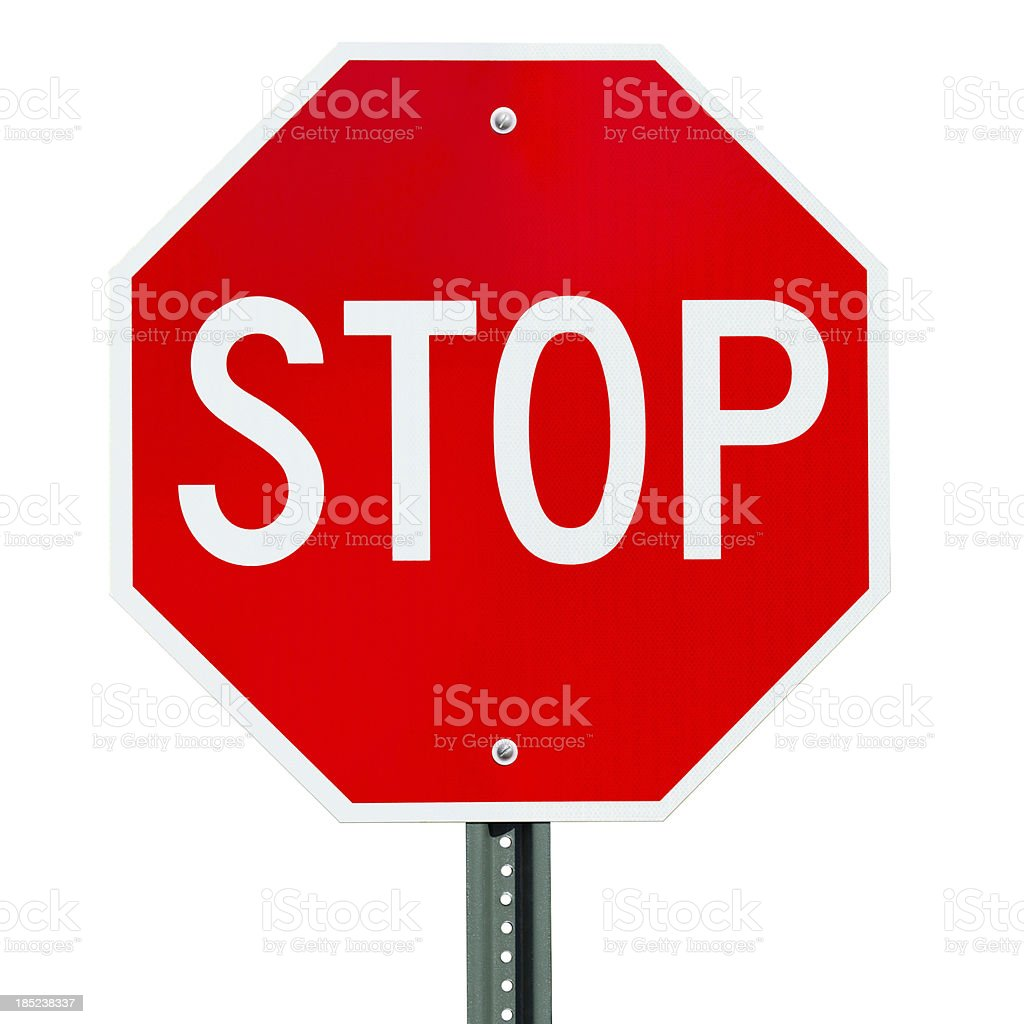 Stop Sign Traffic Post Isolated On White stock photo