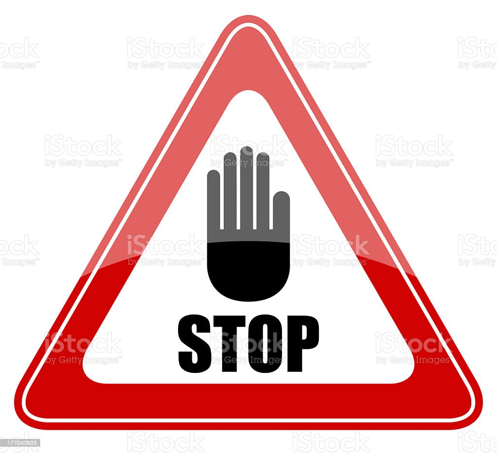 Stop sign with black hand in a red triangle stock photo