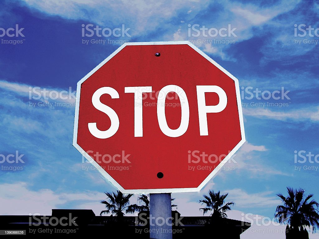 stop sign with skyscape royalty-free stock photo