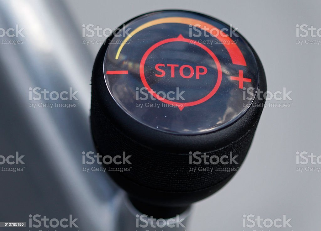 Stop sign with speeds stock photo