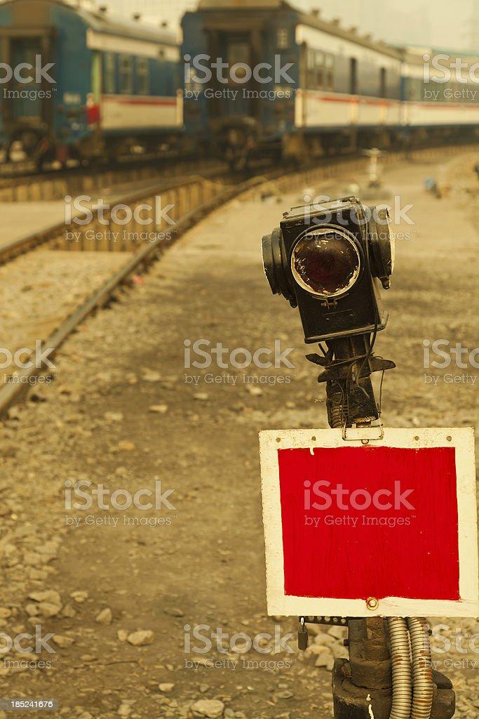 stop signal lamp on railway royalty-free stock photo